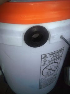 "Step One:add a 1/2"" uniseal toward the top of the bucket-higher than drain pipe."