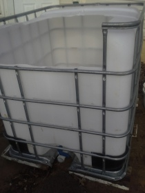 IBC tote cut for fish tank