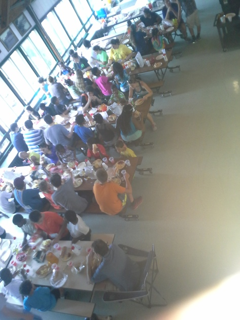 Campers at lunch in the mess hall